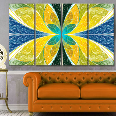 Designart Yellow Fractal Stained Glass Abstract Wall Art Canvas - 4 Panels