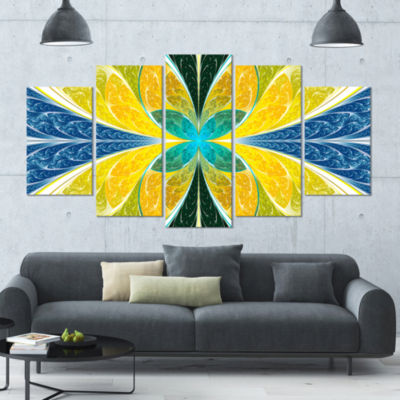Yellow Fractal Stained Glass Contemporary Wall ArtCanvas - 5 Panels