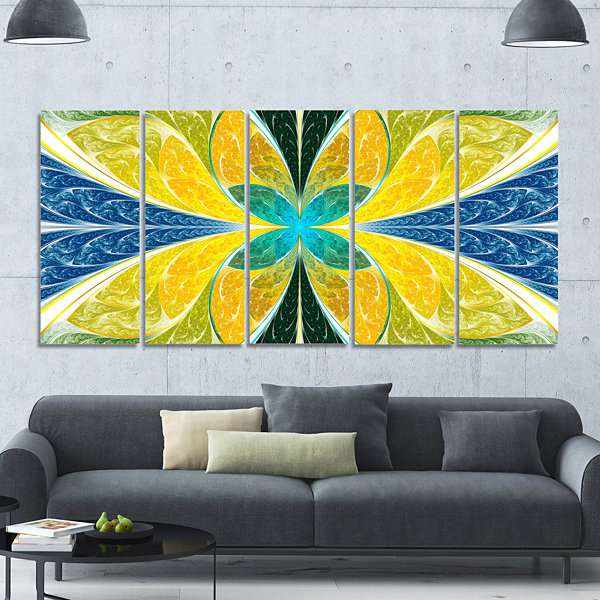 Designart Yellow Fractal Stained Glass Abstract Wall Art Canvas - 5 Panels