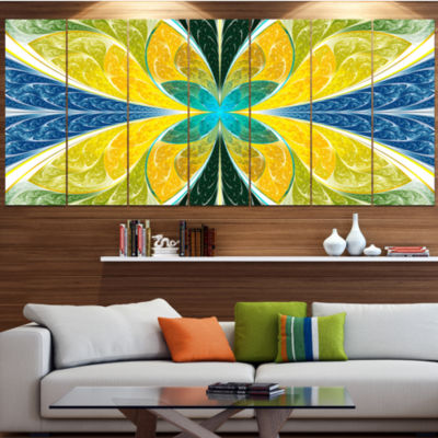 Design Art Yellow Fractal Stained Glass Abstract Wall Art Canvas - 7 Panels