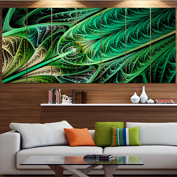 Designart Green On Black Fractal Stained Glass ContemporaryWall Art Canvas - 5 Panels