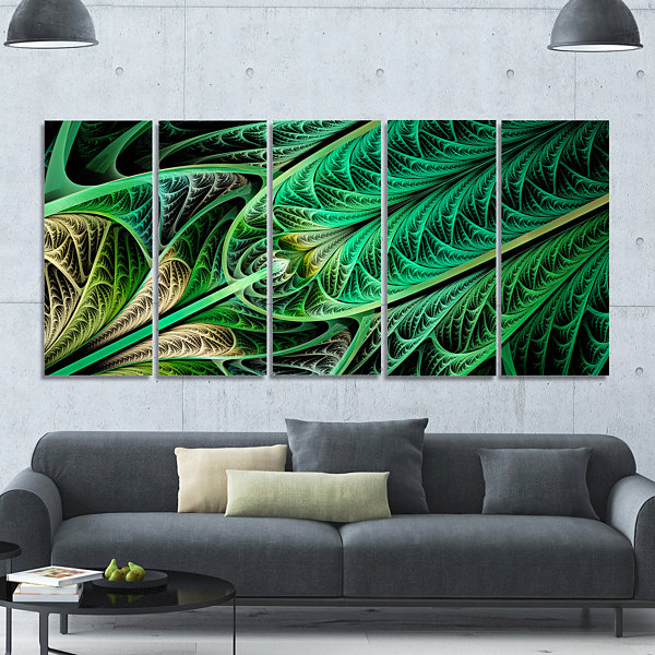 Designart Green On Black Fractal Stained Glass Abstract Wall Art Canvas - 5 Panels