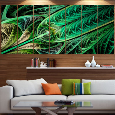 Design Art Green On Black Fractal Stained Glass Abstract Wall Art Canvas - 6 Panels