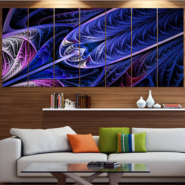 Designart Blue On Black Fractal Stained Glass Abstract Wall Art Canvas - 7 Panels