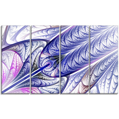 Designart Blue On White Fractal Stained Glass Abstract Wall Art Canvas - 4 Panels
