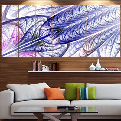 Designart Blue On White Fractal Stained Glass Contemporary Wall Art Canvas - 5 Panels