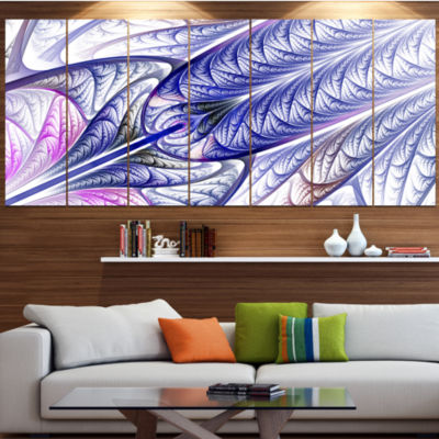 Designart Blue On White Fractal Stained Glass Abstract Wall Art Canvas - 5 Panels