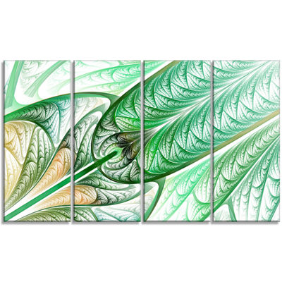 Designart Green On White Fractal Stained Glass Abstract Wall Art Canvas - 4 Panels