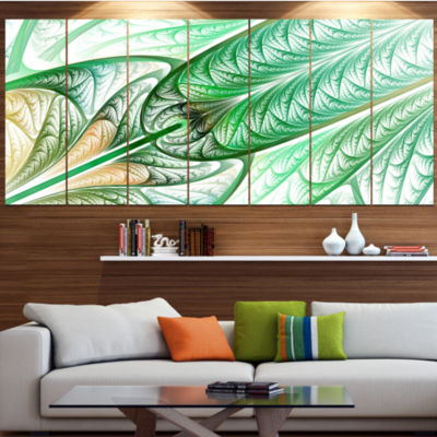 Designart Green On White Fractal Stained Glass ContemporaryWall Art Canvas - 5 Panels