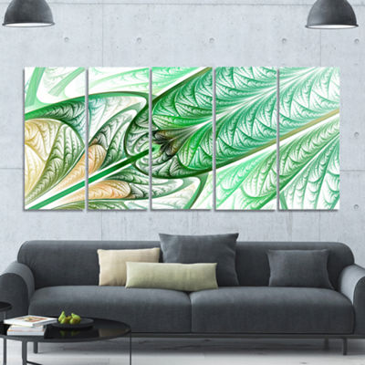Designart Green On White Fractal Stained Glass Abstract Wall Art Canvas - 5 Panels