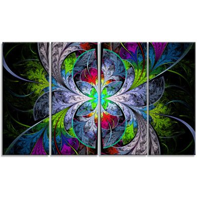 Multi Color Fractal Stained Glass Abstract Wall Art Canvas - 4 Panels