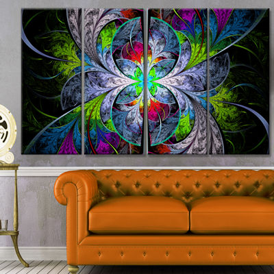 Designart Multi Color Fractal Stained Glass Abstract Wall Art Canvas - 4 Panels