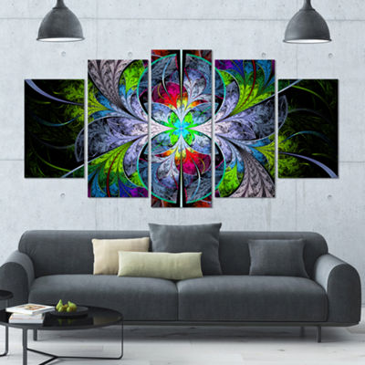 Designart Multi Color Fractal Stained Glass Contemporary Wall Art Canvas - 5 Panels