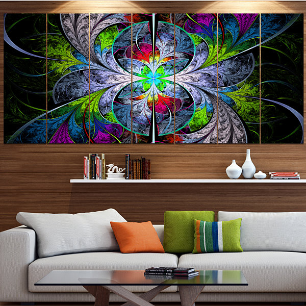 Designart Multi Color Fractal Stained Glass Abstract Wall Art Canvas - 5 Panels