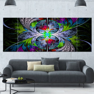 Designart Multi Color Fractal Stained Glass Abstract Wall Art Canvas - 6 Panels