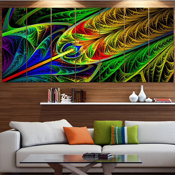 Designart Stained Glass With Glowing Designs Abstract Wall Art Canvas - 6 Panels