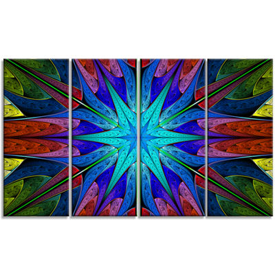 Designart Stained Glass With Multi Color Stars Abstract Wall Art Canvas - 4 Panels