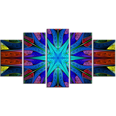 Designart Stained Glass With Multi Color Stars ContemporaryWall Art Canvas - 5 Panels