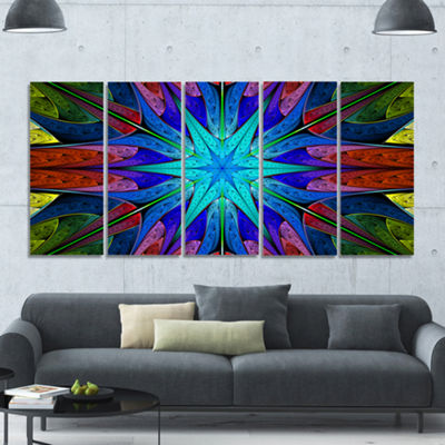 Designart Stained Glass With Multi Color Stars Abstract Wall Art Canvas - 5 Panels