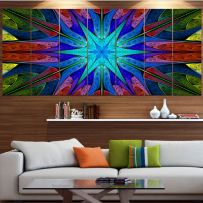 Designart Stained Glass With Multi Color Stars Abstract Wall Art Canvas - 7 Panels