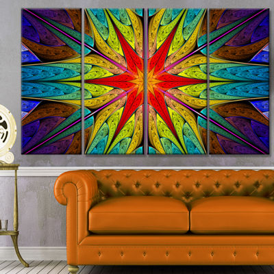 Designart Stained Glass With Bright Red Star Abstract Wall Art Canvas - 4 Panels