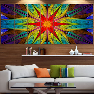 Designart Stained Glass With Bright Red Star Abstract Wall Art Canvas - 5 Panels