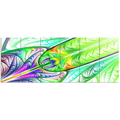 Designart Green Blue Fractal Stained Glass Abstract Wall Art Canvas - 6 Panels