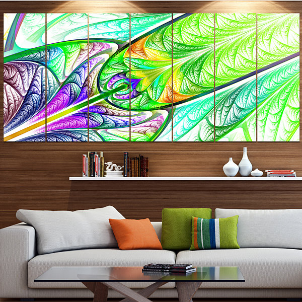 Design Art Green Blue Fractal Stained Glass Abstract Wall Art Canvas - 7 Panels