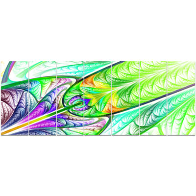 Green Blue Fractal Stained Glass Abstract Wall ArtCanvas - 7 Panels