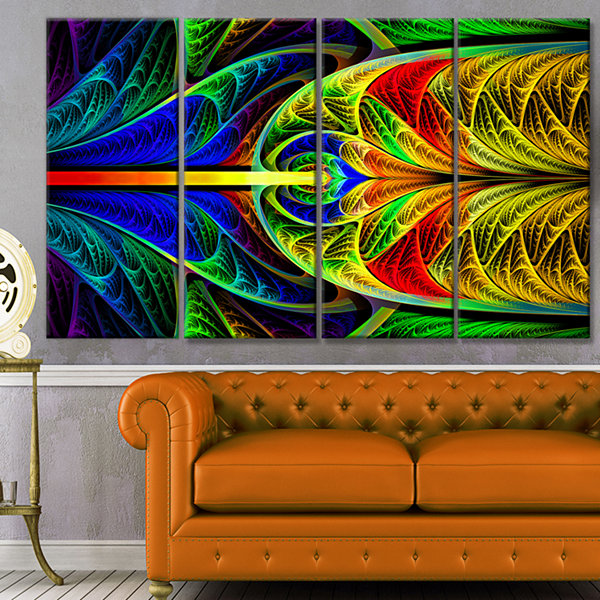 Designart Colorful Stained Glass Texture AbstractWall Art Canvas - 4 Panels