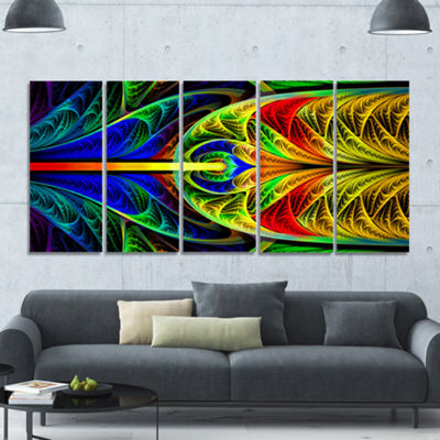 Designart Colorful Stained Glass Texture AbstractWall Art Canvas - 5 Panels