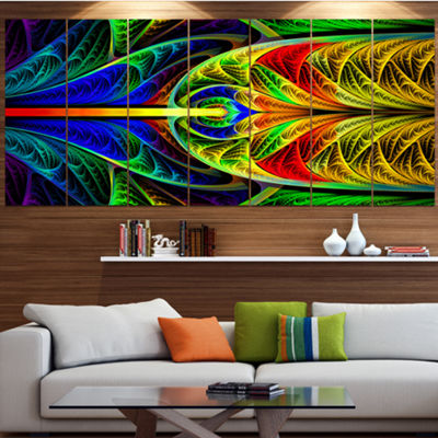 Designart Colorful Stained Glass Texture AbstractWall Art Canvas - 6 Panels