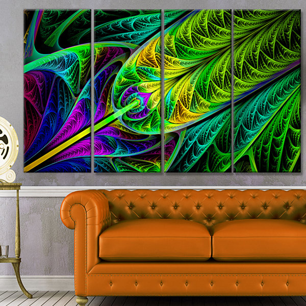 Designart Green Stained Glass Texture Abstract Wall Art Canvas - 4 Panels