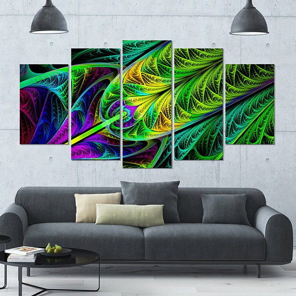 Design Art Green Stained Glass Texture Contemporary Wall Art Canvas - 5 Panels