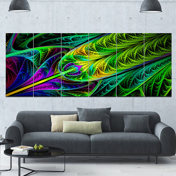 Designart Green Stained Glass Texture Abstract Wall Art Canvas - 6 Panels