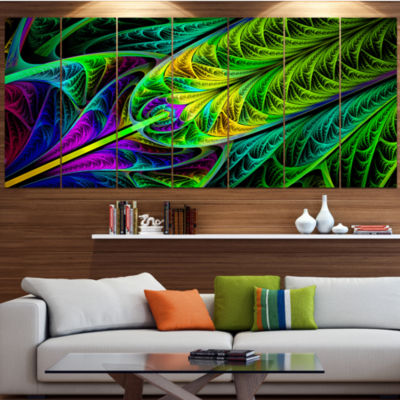 Designart Green Stained Glass Texture Abstract Wall Art Canvas - 7 Panels