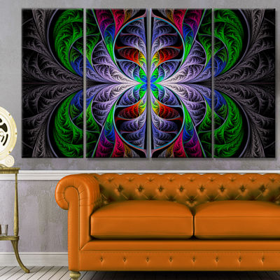 Designart Beautiful Fractal Stained Glass AbstractWall ArtCanvas - 4 Panels