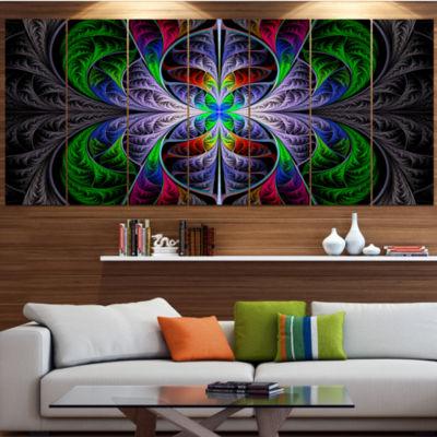 Designart Beautiful Fractal Stained Glass AbstractWall ArtCanvas - 5 Panels