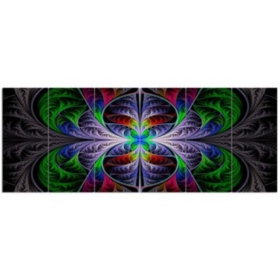 Beautiful Fractal Stained Glass Abstract Wall ArtCanvas - 6 Panels