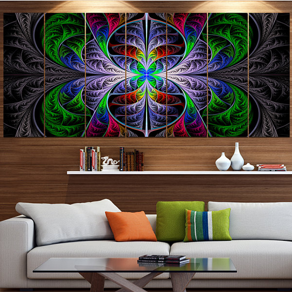 Designart Beautiful Fractal Stained Glass AbstractWall ArtCanvas - 7 Panels
