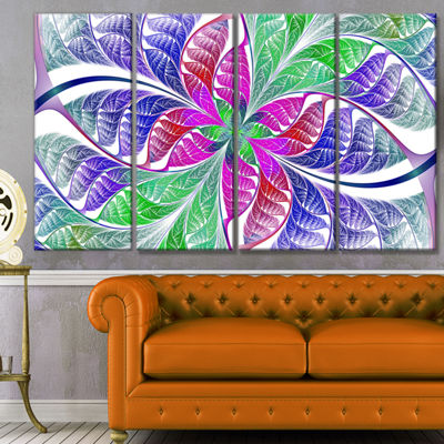 Designart Flower Like Fractal Stained Glass Abstract Wall Art Canvas - 4 Panels