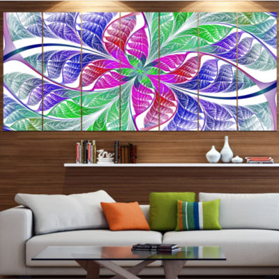 Designart Flower Like Fractal Stained Glass Contemporary Wall Art Canvas - 5 Panels