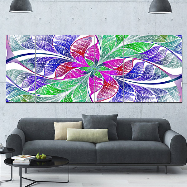 Design Art Flower Like Fractal Stained Glass Abstract Wall Art Canvas - 6 Panels