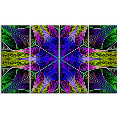 Star Shaped Blue Stained Glass Abstract Canvas ArtPrint - 4 Panels
