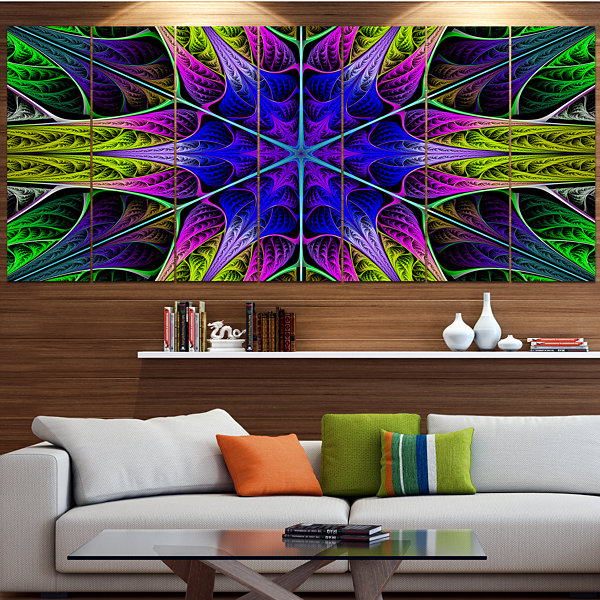 Design Art Star Shaped Blue Stained Glass AbstractCanvas Art Print - 6 Panels