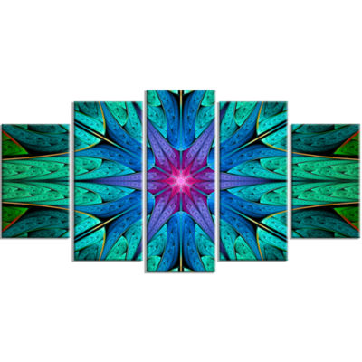 Turquoise Star Fractal Stained Glass ContemporaryCanvas Art Print - 5 Panels