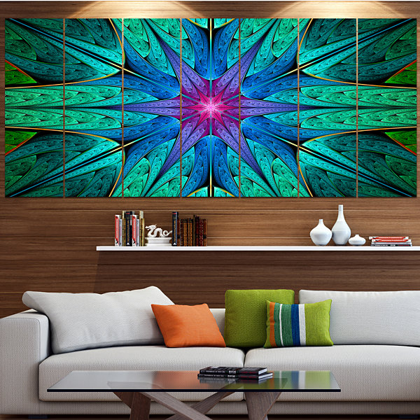 Designart Turquoise Star Fractal Stained Glass Abstract Canvas Art Print - 5 Panels