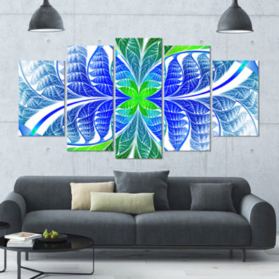 Designart Green Blue Fractal Glass Texture Contemporary Canvas Art Print - 5 Panels