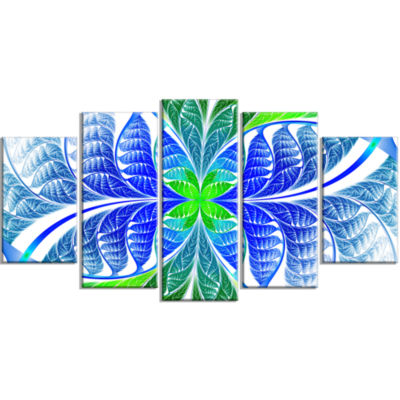 Green Blue Fractal Glass Texture Contemporary Canvas Art Print - 5 Panels