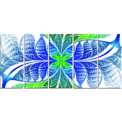 Designart Green Blue Fractal Glass Texture Abstract Canvas Art Print - 5 Panels